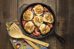 Blueberry Peach Buttermilk Biscuit Cobbler